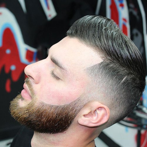 Classic Comb Over Pompadour with Mid Taper Fade