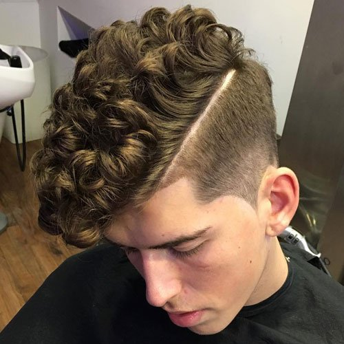 Cool Textured Curly Hair with Fade and Hard Part