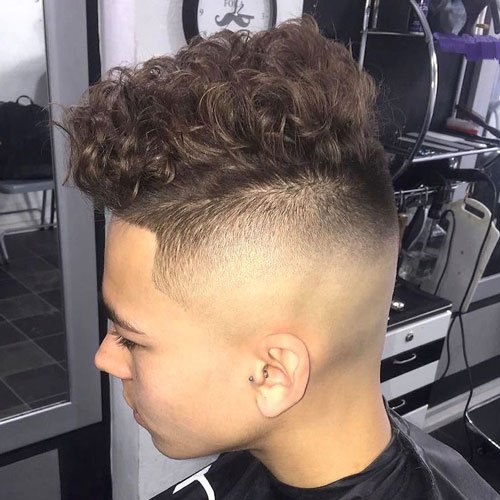 Curly Top with High Bald Fade