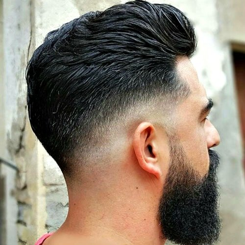 Easy Hairstyles For Men Low Skin Fade With Brush Back