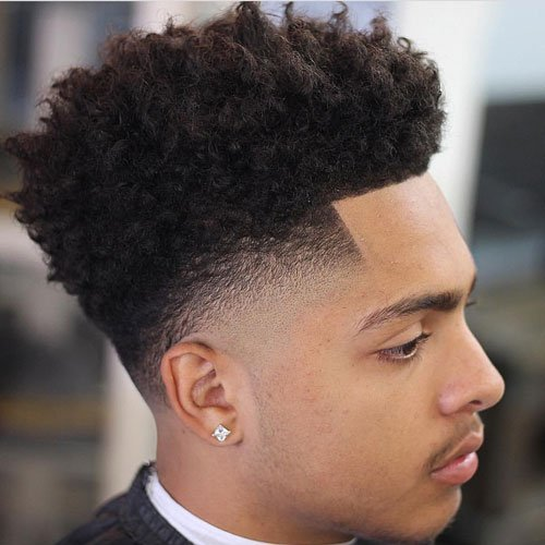 Edge Up - Burst Fade + Curly Afro