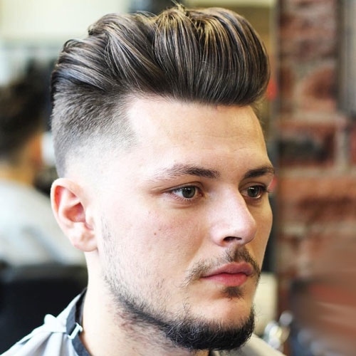 Fresh Low Taper Fade with Thick Brushed Back Hair