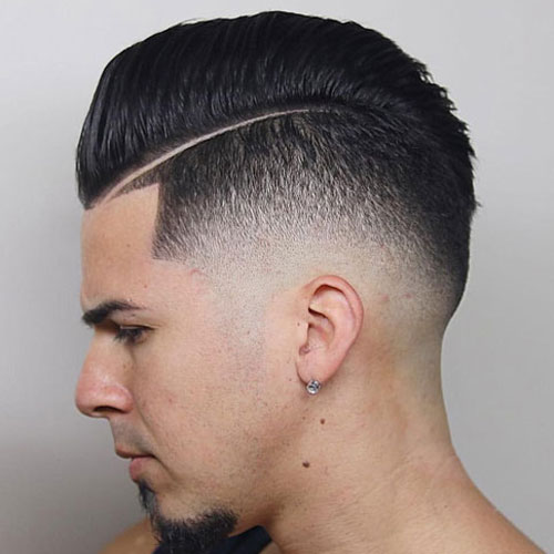 Haircut Line - Mid Taper Fade + Combed Over Pompadour