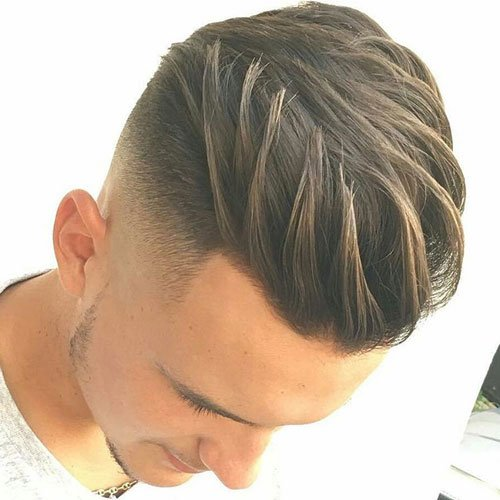 Haircuts For Men with Straight Hair - High Fade with Textured Brush Back