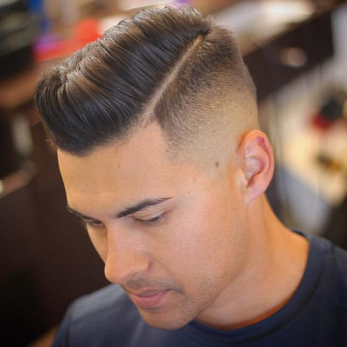 Hard Side Part with Mid Bald Fade