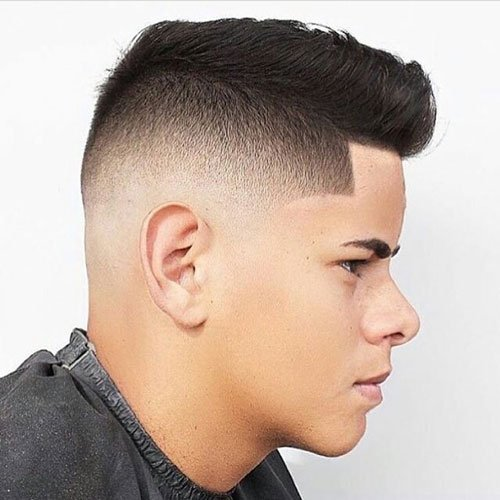 High Bald Fade with Line Up and Brush Up
