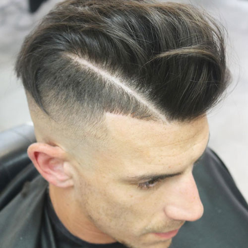 Cool High Skin Fade with Comb Over and Hard Part