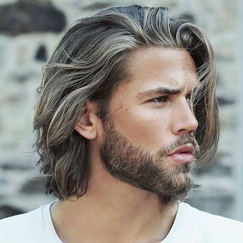 Long Flowing Hair with Beard