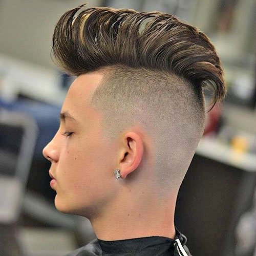 Long Straight Hair Men - Mohawk with Shaved Sides