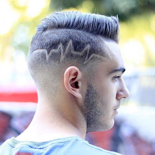 Low Fade with Comb Over and Haircut Design