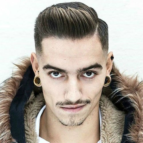 Low Fade with Hard Part and Spiked Up Front