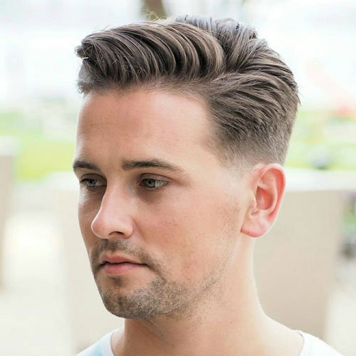 Low Fade with Side Swept Hair