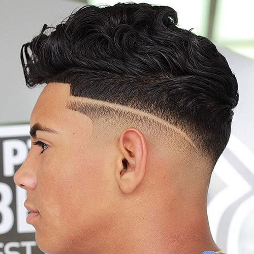Haircuts For Men With Wavy Hair - Low Skin Fade with Line Up and Wavy Quiff