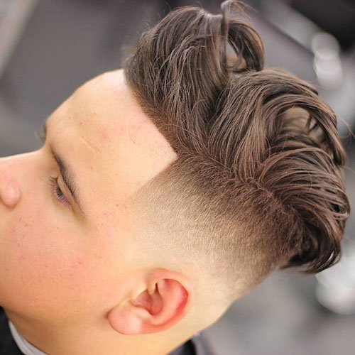 Medium Length Textured Hair with High Fade