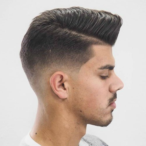 Mid Fade with Shape Up and Combed Over Pomp