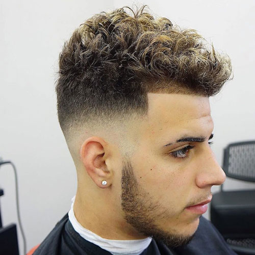 Mid Skin Fade and Shape Up with Short Curly Hair