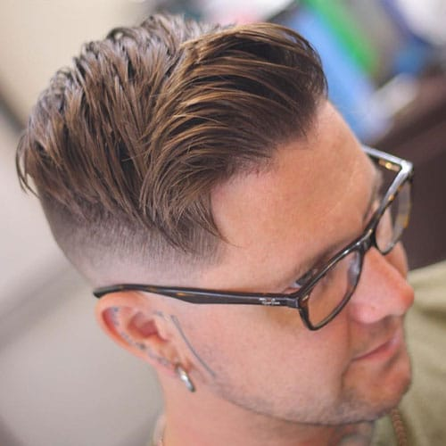 Side Swept Hair with Mid Skin Fade