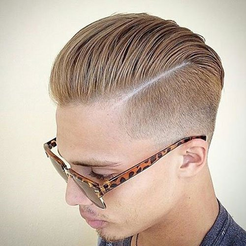 Slick Back with Hard Part and Low Fade