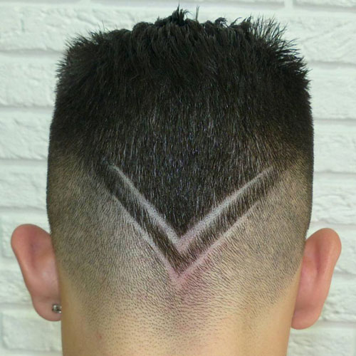 Slicked Back Hair + V-Shape Design