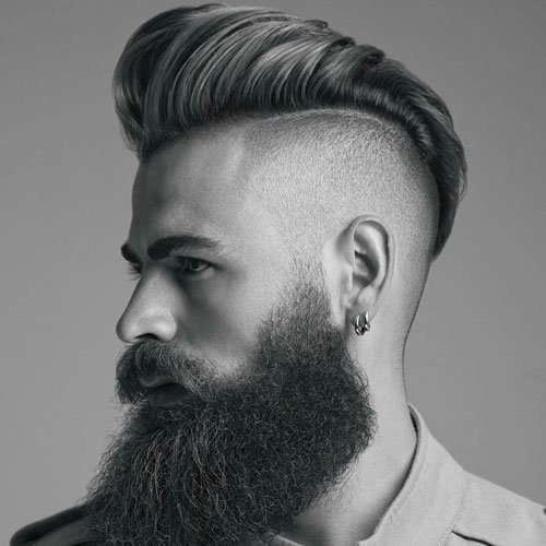 Slicked Back Pompadour with High Fade