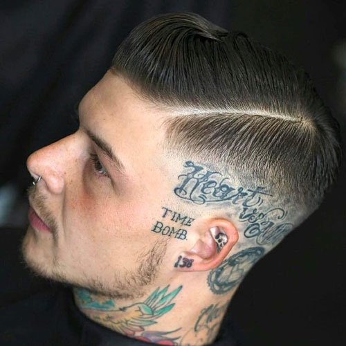 Slicked Side Part + High Skin Fade