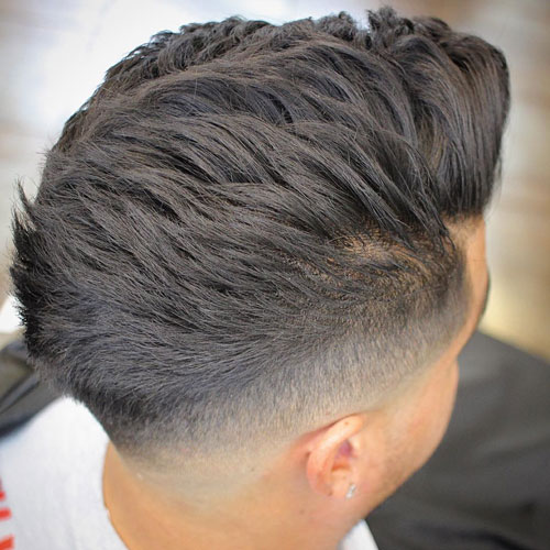 Thick Brushed Back Hair with Taper Fade