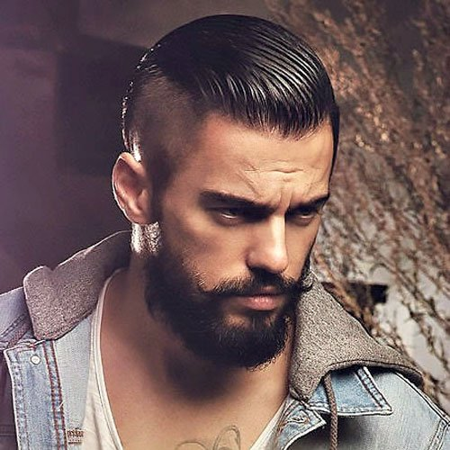 Undercut with Slick Back and Beard
