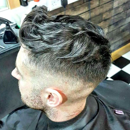 Brushed Up Hair with Textured Top and High Bald Fade
