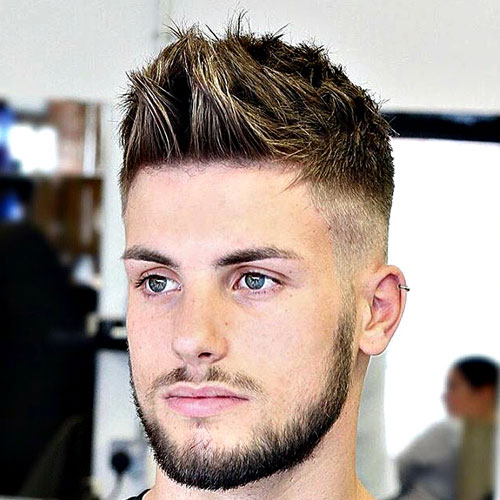 Brushed Up Hairstyle With High Fade And Beard