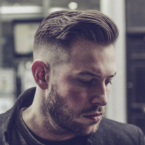 High Skin Fade with Comb Over and Beard