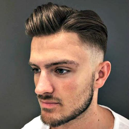 High Skin Fade with Side Part and Beard