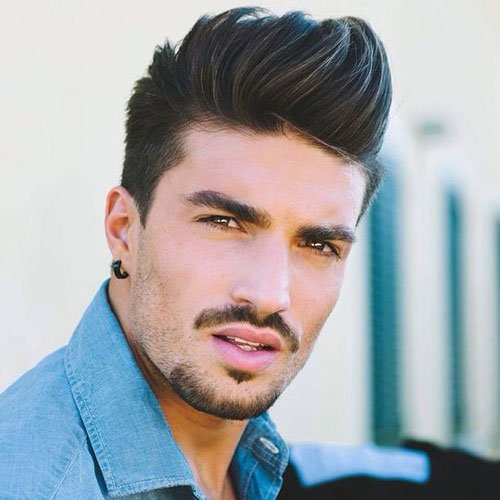Long Quiff Hairstyle with Short Sides and Beard