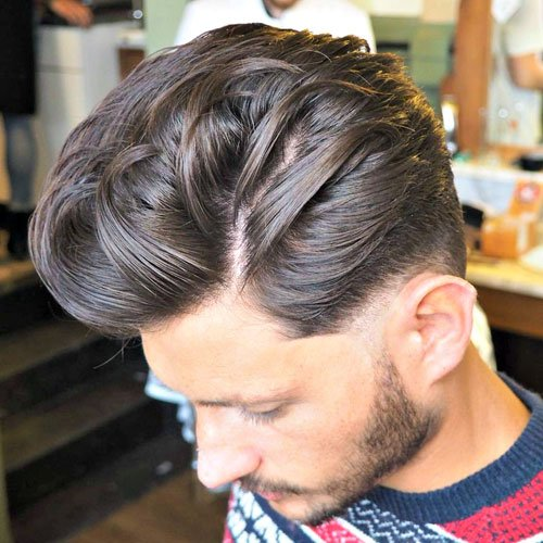 Long Textured Quiff with Low Fade and Beard
