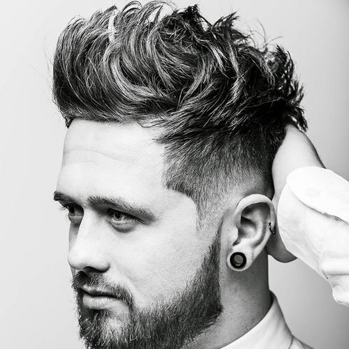 Low Skin Fade with Messy Brush Up and Beard