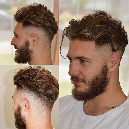 Wavy Brushed Back Long Hair with High Taper Fade