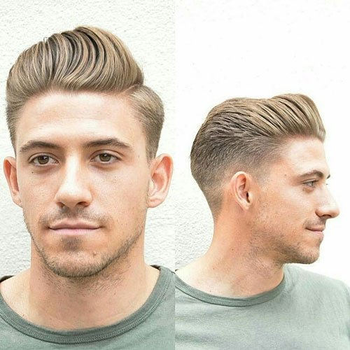 Wavy Brushed Up Hair with Taper Fade