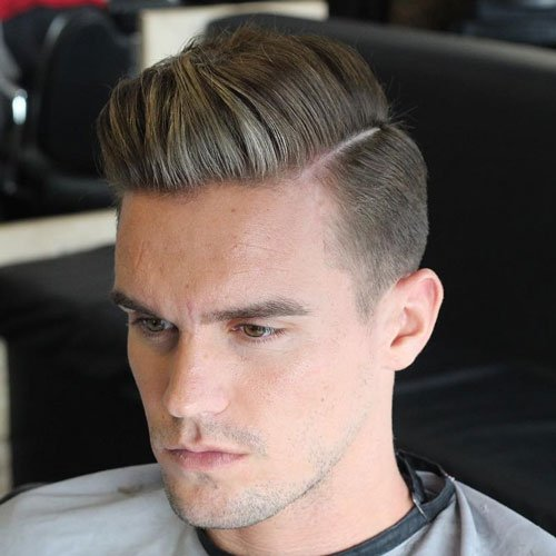Classic Taper Fade with Thick Hard Part Comb Over
