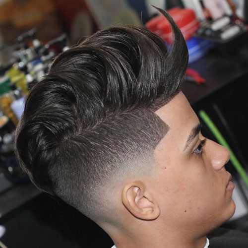 Faded Undercut with Shape Up and Combed Over Pompadour