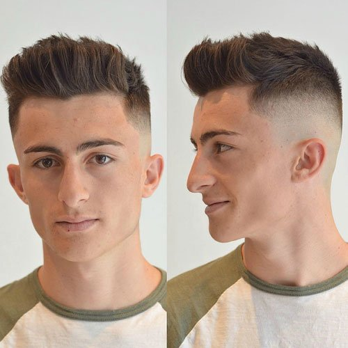High Skin Fade with Brush Up