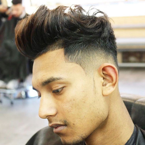 Low Taper Fade and Line Up with Brushed Up Quiff