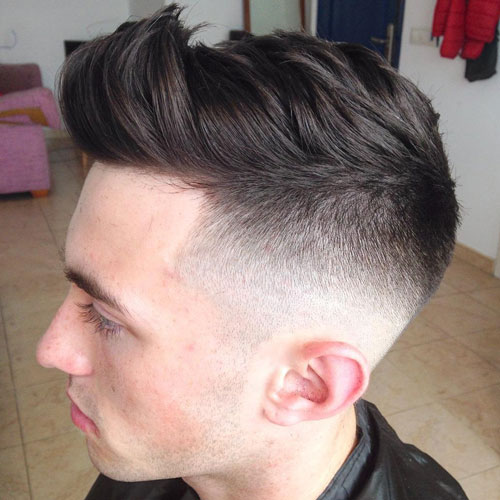 Mid Bald Fade with Textured Quiff