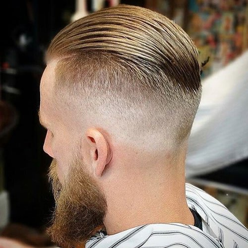 Slicked Back Undercut with Thick Beard