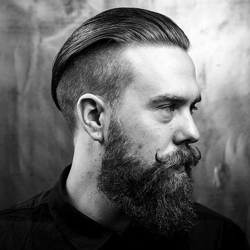 Undercut Slicked Back with Thick Full Beard