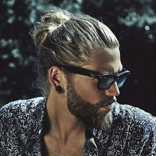Best Man Bun Hair with Beard