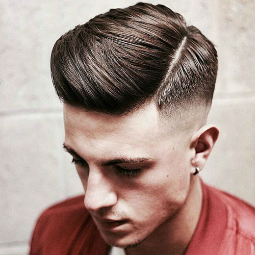 High Skin Fade with Textured Hard Side Part