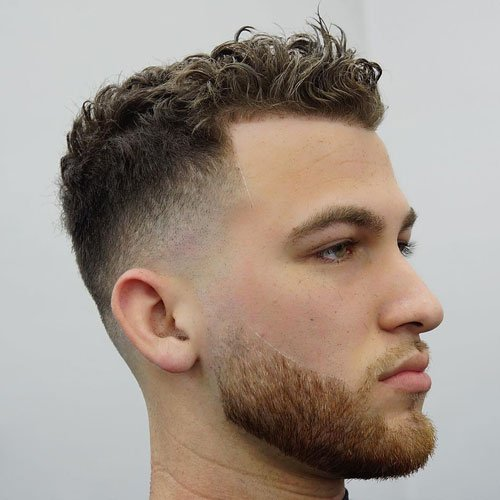 Low Skin Shadow Fade With Curly Top And Beard