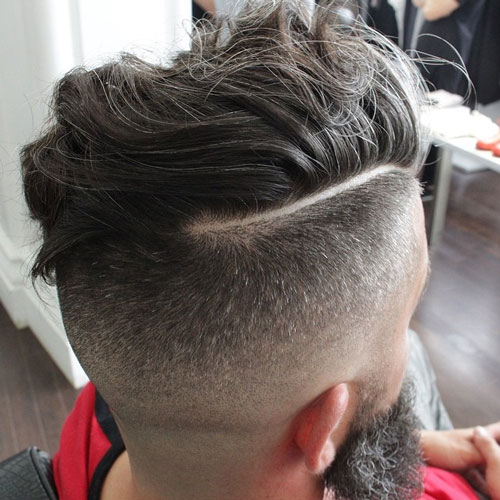 Messy Long Comb Over with Hard Part and High Fade