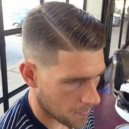 Taper Fade with Slicked Side Part