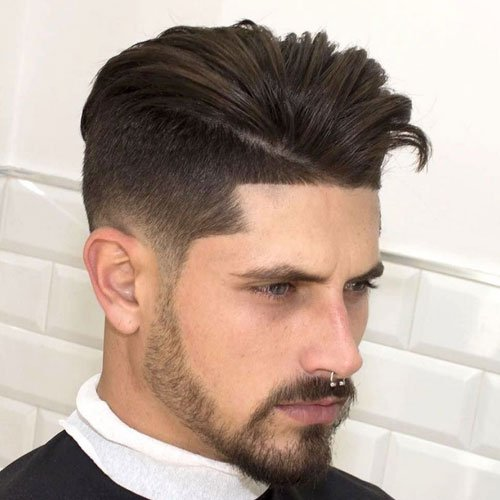Beard Fade Styles - Low Skin Fade with Comb Over