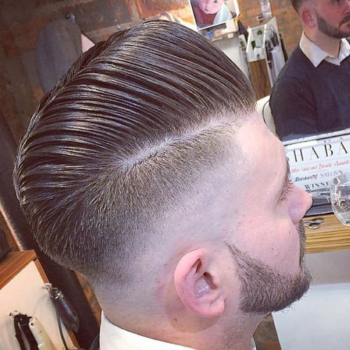 Comb Over Pompadour with Razor Fade